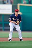 Rochester Red Wings third baseman Jordan Pacheco (9) during a game against the Pawtucket Red Sox on July 4, 2018 at Frontier Field in Rochester, New York.  Pawtucket defeated Rochester 6-5.  (Mike Janes/Four Seam Images)