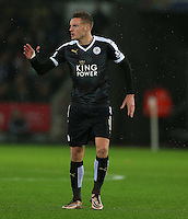 Jamie Vardy of Leicester City gestures during the Barclays Premier League match between Swansea City and Leicester City played at The Liberty Stadium on 5th December 2015