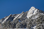 Flatirons rock formation in snow, Chautauqua Park, Boulder, Colorado, .  John leads private photo tours in Boulder and throughout Colorado. Year-round Boulder photo tours.