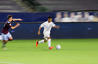 CARSON, CA - SEPTEMBER 19: Efrain Alvarez #26 of the Los Angeles Galaxy moves with the ball during a game between Colorado Rapids and Los Angeles Galaxy at Dignity Heath Sports Park on September 19, 2020 in Carson, California.