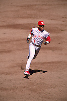 SAN FRANCISCO, CA - Barry Larkin of the Cincinnati Reds runs the bases against the San Francisco Giants during a game at Candlestick Park in San Francisco, California in 1997. Photo by Brad Mangin