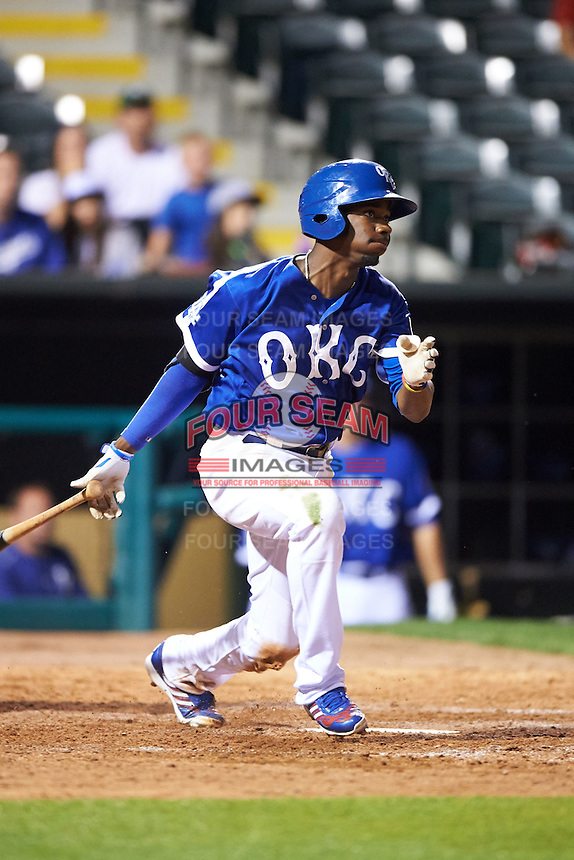 Oklahoma City Dodgers second baseman Darnell Sweeney (9) at bat during a game against the Fresno Grizzles on June 1, 2015 at Chickasaw Bricktown Ballpark in Oklahoma City, Oklahoma.  Fresno defeated Oklahoma City 14-1.  (Mike Janes/Four Seam Images)