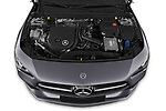 Car stock 2020 Mercedes Benz CLA AMG-Line 4 Door Sedan engine high angle detail view