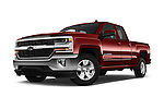Stock pictures of low aggressive front three quarter view of 2018 Chevrolet Silverado-1500 LT-Double-Cab-Std-Box 4 Door Pick-up Low Aggressive