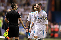 Real Madrid's Sergio Ramos have words with the referee line during La Liga match. August 20,2017.  *** Local Caption *** © pixathlon