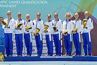 Italia ITALY  Bronze medal qualified for Olympics Rio 2016<br /> (L to R) ,SGARZI Sara, PERRUPATO Mariangela, FLAMINI Manila, CERRUTI Linda, DEIDDA Francesca, BOZZO Elisa, FERRO Costanza,CATTANEO Camilla,  CALLEGARI Beatrice, <br /> Team Free<br /> Synchronised Swimming Olympic Games Qualification Tournament<br /> Maria Lenk Aquatic Centre - Rio De Janeiro Brazil<br /> Day4  05 March 2016<br /> Italia qualificata per le Olimpiadi di Rio 2016 <br /> Photo G.Scala/Insidefoto/Deepbluemedia