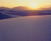Sunset light on the white sand dunes; White Sands National Monument, NM