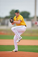 North Dakota State Bison starting pitcher Riley Johnson (25) delivers a pitch during a game against the Central Connecticut State Blue Devils on February 23, 2018 at North Charlotte Regional Park in Port Charlotte, Florida.  North Dakota State defeated Connecticut State 2-0.  (Mike Janes/Four Seam Images)