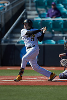 Logan Fink (26) of the Kennesaw State Owls follows through on his swing against the Western Carolina Catamounts at Springs Brooks Stadium on February 22, 2020 in Conway, South Carolina. The Owls defeated the Catamounts 12-0.  (Brian Westerholt/Four Seam Images)