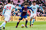 Sergi Roberto of FC Barcelona (C) in action against Jozabed Sanchez Ruiz of RC Celta de Vigo (R) during the La Liga 2017-18 match between FC Barcelona and RC Celta de Vigo at Camp Nou Stadium on 02 December 2017 in Barcelona, Spain. Photo by Vicens Gimenez / Power Sport Images