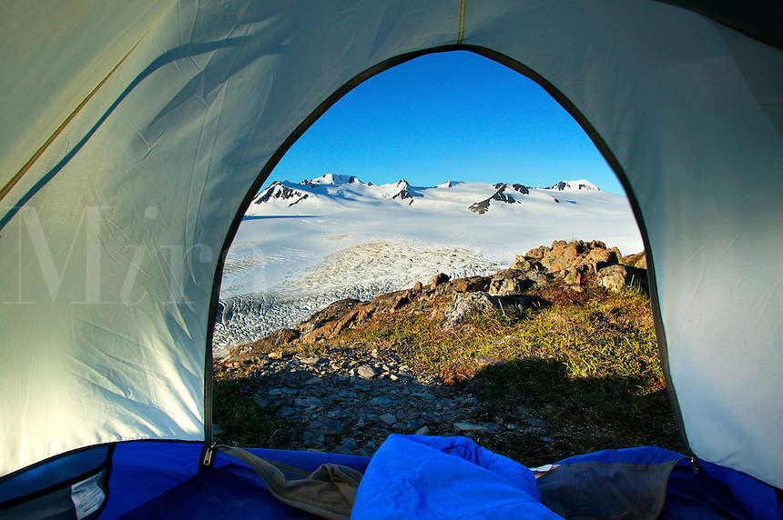 Tent camping at the Harding Icefield.  Kenai Fjords National Park, Alaska.