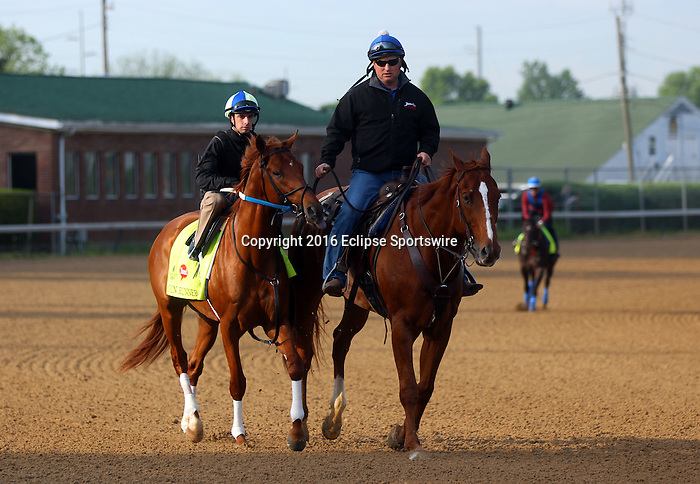 LOUISVILLE, KY - APRIL 25: Gun Runner (Candy Ride x Quiet Giant, by Giant's Causeway) is ponied on the track while Mor Spirit approaches in the background at Churchill Downs, Louisville KY in preparation for the Kentucky Derby. Owner Winchell Thoroughbreds LLC and Three Chimneys Farm, trainer Steven M. Asmussen. (Photo by Mary M. Meek/Eclipse Sportswire/Getty Images)