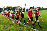 Sky Blue FC enters the field. Sky Blue FC defeated the Washington Spirit 1-0 during a National Women's Soccer League (NWSL) match at Yurcak Field in Piscataway, NJ, on August 3, 2013.