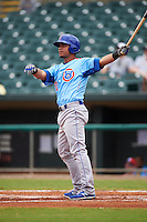 Tennessee Smokies designated hitter Willson Contreras (40) hits a home run during a game against the Montgomery Biscuits on May 25, 2015 at Riverwalk Stadium in Montgomery, Alabama.  Tennessee defeated Montgomery 6-3 as the game was called after eight innings due to rain.  (Mike Janes/Four Seam Images)