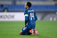 18th February 2021, Rome, Italy;  Pierre-Emerick Aubameyang of Arsenal FC looks Dejected during the UEFA Europa League round of 32 Leg 1 match between SL Benfica and Arsenal at Stadio Olimpico, Rome, Italy on 18 February 2021.