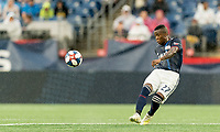 FOXBOROUGH, MA - JULY 17: Luis Caicedo #27 passes the ball during a game between Vancouver Whitecaps and New England Revolution at Gillette Stadium on July 17, 2019 in Foxborough, Massachusetts.