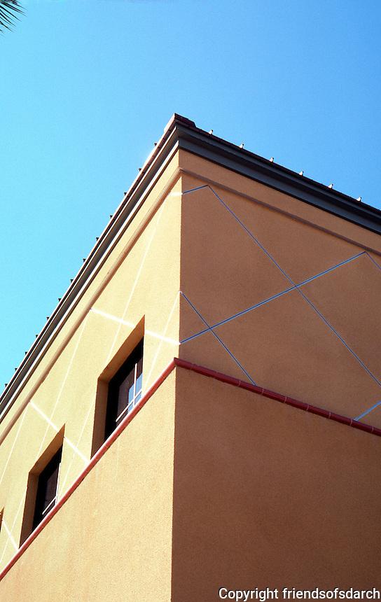 """Ballparks: San Bernardino """"The Ranch"""" --detail of facade above ticket window."""