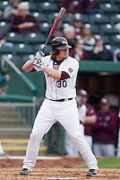 Luke Voit (30) of the Missouri State Bears bats during a game against the Northwestern Wildcats at Hammons Field on March 8, 2013 in Springfield, Missouri. (David Welker/Four Seam Images)