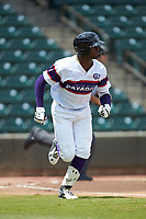 Luis Robert (21) of the Winston-Salem Rayados hustles down the first base line against the Potomac Nationals at BB&T Ballpark on August 12, 2018 in Winston-Salem, North Carolina. The Rayados defeated the Nationals 6-3. (Brian Westerholt/Four Seam Images)