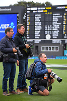 Photographers Marty Melville, Andrew Cornaga and Hagen Hopkins during day four of the second International Test Cricket match between the New Zealand Black Caps and West Indies at the Basin Reserve in Wellington, New Zealand on Monday, 14 December 2020. Photo: Dave Lintott / lintottphoto.co.nz