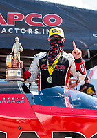 Aug 9, 2020; Clermont, Indiana, USA; NHRA top fuel driver Steve Torrence celebrates after winning the Indy Nationals at Lucas Oil Raceway. Mandatory Credit: Mark J. Rebilas-USA TODAY Sports