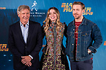 American actor Harrison Ford, cuban actress Ana de Armas and canadian actor Ryan Gosling attends to the presentation of Blade Runner 2049 at Villa Magna Hotel in Madrid, Spain September 19, 2017. (ALTERPHOTOS/Borja B.Hojas)