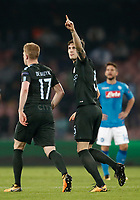 Football Soccer: UEFA Champions League Napoli vs Mabchester City San Paolo stadium Naples, Italy, November 1, 2017. <br /> Manchester City's John Stones celebrates after scoring during the Uefa Champions League football soccer match between Napoli and Manchester City at San Paolo stadium, November 1, 2017.<br /> UPDATE IMAGES PRESS/Isabella Bonotto