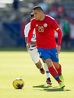 CARSON, CA - FEBRUARY 1: David Guzman #20 of Costa Rica turns with the ball during a game between Costa Rica and USMNT at Dignity Health Sports Park on February 1, 2020 in Carson, California.