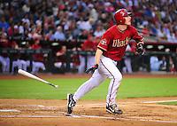 May 13, 2008; Phoenix, AZ, USA; Arizona Diamondbacks shortstop Stephen Drew drops his bat after hitting a three run home run in the second inning against the Colorado Rockies at Chase Field. Mandatory Credit: Mark J. Rebilas-