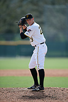Pittsburgh Pirates pitcher Vince Deyzel (23) gets ready to deliver a pitch during an Instructional League game against the Tampa Bay Rays on October 3, 2017 at Pirate City in Bradenton, Florida.  (Mike Janes/Four Seam Images)