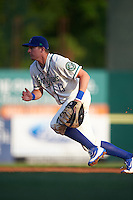 Hartford Yard Goats first baseman Ryan McMahon (13) during the second game of a doubleheader against the Trenton Thunder on June 1, 2016 at Sen. Thomas J. Dodd Memorial Stadium in Norwich, Connecticut.  Trenton defeated Hartford 2-1.  (Mike Janes/Four Seam Images)