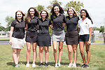 August 17, 2017- Tuscola, IL- The 2017 Tuscola Warrior Girls Golf team. From left are Sydney Hoel, Claire Ring, Whitney Root, Olivia Chester, Lainey Banta, and Riya Patel. Photo: Douglas Cottle]