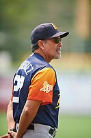 Las Vegas Aviators pitching coach Rick Rodriguez (27) at Smith's Ballpark on July 25, 2021 in Salt Lake City, Utah. The Aviators defeated the Bees 10-6. (Stephen Smith/Four Seam Images)