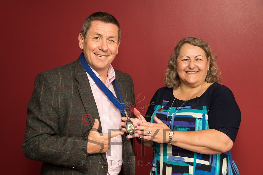 Nigel Rowlson new President of Nottingham City Business Club recieves his chain of office from past president Deborah Labbate
