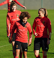 20200911 - TUBIZE , Belgium : Kassandra Missipo and Lenie Onzia are pictured during the training session of the Belgian Women's National Team, Red Flames ahead of the Women's Euro Qualifier match against Switzerland, on the 28th of November 2020 at Proximus Basecamp. PHOTO: SEVIL OKTEM | SPORTPIX.BE