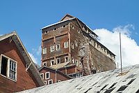 This view of the Kennicott mill shows the long staircase leading to the upper floors.