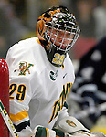 """5 January 2007: University of Vermont goaltender Joe Fallon (29) from Bemidji, MN, in action against the University of New Hampshire Wildcats at Gutterson Fieldhouse in Burlington, Vermont. The UNH Wildcats defeated the UVM Catamounts 7-1 in front of a record setting 48th consecutive sellout at """"the Gut"""".....Mandatory Photo Credit: Ed Wolfstein Photo.<br />"""