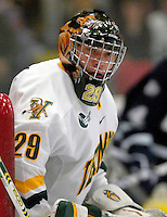 "5 January 2007: University of Vermont goaltender Joe Fallon (29) from Bemidji, MN, in action against the University of New Hampshire Wildcats at Gutterson Fieldhouse in Burlington, Vermont. The UNH Wildcats defeated the UVM Catamounts 7-1 in front of a record setting 48th consecutive sellout at ""the Gut"".....Mandatory Photo Credit: Ed Wolfstein Photo.<br />"
