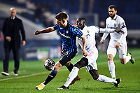 Joackim Maehle of Atalanta and Ferland Mendy of Real Madrid during the Champions League round of 16 football match between Atalanta BC and Real Madrid at Atleti azzurri d'Italia stadium in Bergamo (Italy), February, 24th, 2021. Photo Image Sport  / Insidefoto