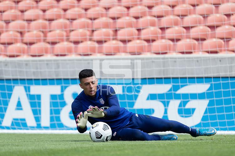 SANDY, UT - JUNE 8: David Ochoa makes the save during a training session at Rio Tinto Stadium on June 8, 2021 in Sandy, Utah.