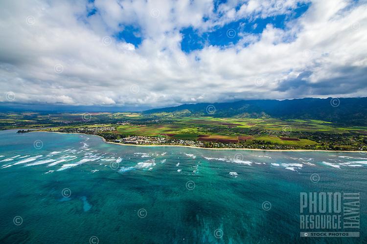 Waves roll towards the North Shore coastline of O'ahu.