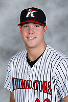 Kannapolis Intimidators first baseman Gavin Sheets (23) poses for a photo prior to the game against the Hagerstown Suns at Kannapolis Intimidators Stadium on July 9, 2017 in Kannapolis, North Carolina.  The Intimidators defeated the Suns 3-2 in game one of a double-header.  (Brian Westerholt/Four Seam Images)