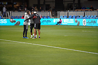 SAN JOSE, CA - MARCH 7: San Jose Earthquakes goalkeepera Matt Bersano #12 and Daniel Vega #17, Carlos Roa during a game between Minnesota United FC and San Jose Earthquakes at Earthquakes Stadium on March 7, 2020 in San Jose, California.