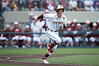TJ Rumfield (7) of the Virginia Tech Hokies hustles down the first base line against the Georgia Tech Yellow Jackets at English Field on April 17, 2021 in Blacksburg, Virginia. (Brian Westerholt/Four Seam Images)