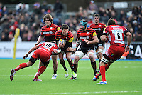 20130303 Copyright onEdition 2013©.Free for editorial use image, please credit: onEdition..Nils Mordt of Saracens is tackled  by Gavin Henson of London Welsh as Nick Auterac (left) and Steve Borthwick of Saracens support during the Premiership Rugby match between Saracens and London Welsh at Allianz Park on Sunday 3rd March 2013 (Photo by Rob Munro)..For press contacts contact: Sam Feasey at brandRapport on M: +44 (0)7717 757114 E: SFeasey@brand-rapport.com..If you require a higher resolution image or you have any other onEdition photographic enquiries, please contact onEdition on 0845 900 2 900 or email info@onEdition.com.This image is copyright onEdition 2013©..This image has been supplied by onEdition and must be credited onEdition. The author is asserting his full Moral rights in relation to the publication of this image. Rights for onward transmission of any image or file is not granted or implied. Changing or deleting Copyright information is illegal as specified in the Copyright, Design and Patents Act 1988. If you are in any way unsure of your right to publish this image please contact onEdition on 0845 900 2 900 or email info@onEdition.com