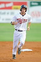 Nate Roberts #19 of the Elizabethton Twins rounds the bases after hitting a home run against the Greeneville Astros at Joe O'Brien Field August 15, 2010, in Elizabethton, Tennessee.  Photo by Brian Westerholt / Four Seam Images