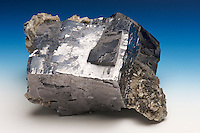 Galena, Sweetwater Mine, Viburnum Trend, Reynolds County, Missouri, USA. Galena is the chief ore of lead. Its shiny metallic luster is striking.