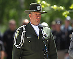 Deputy Shawn Mahan of the Storey County Sheriff's Office sings during the 15th annual Nevada Law Enforcement Officers Memorial ceremony in Carson City, Nev., on Thursday, May 3, 2012. Three names were added to the wall bringing the total to 120 Nevada law officers who have been killed in the line of duty since 1861..Photo by Cathleen Allison