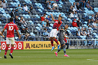 SAINT PAUL, MN - MAY 15: Bryan Acosta #8 of FC Dallas brings down the ball during a game between FC Dallas and Minnesota United FC at Allianz Field on May 15, 2021 in Saint Paul, Minnesota.