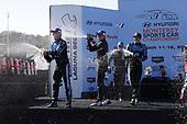 #10: Konica Minolta Acura ARX-05 Acura DPi, DPi: Ricky Taylor, Filipe Albuquerque, winner, podium, #01: Cadillac Chip Ganassi Racing Cadillac DPi, DPi: Renger van der Zande, Kevin Magnussen, #31: Whelen Engineering Racing Cadillac DPi, DPi: Felipe Nasr, Pipo Derani, champagne